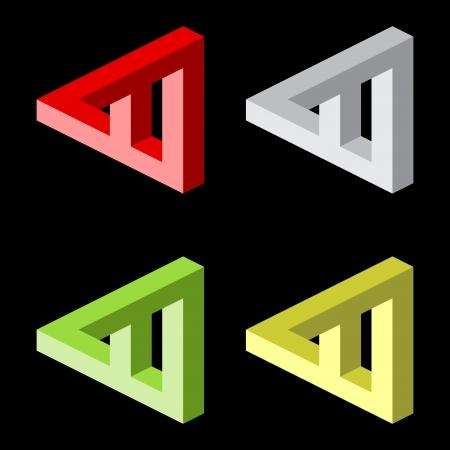 Optical illusion, colorful vector blocks