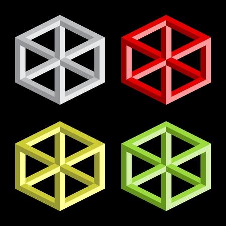 seem: Optical illusion, colorful vector blocks