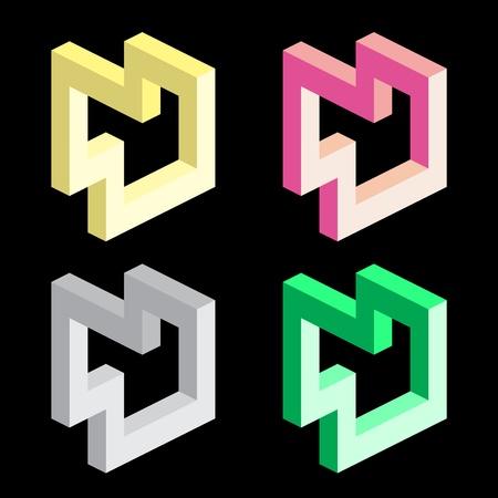 seem: Optical illusion, colorful blocks Illustration