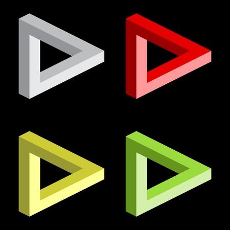 Optical illusion, colorful blocks Illustration