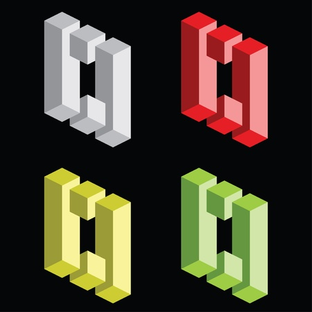 Optical illusion, colorful blocks Vector