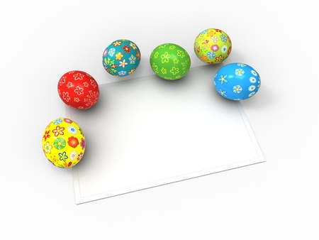 Easter eggs, color pack collection with card for the wishes
