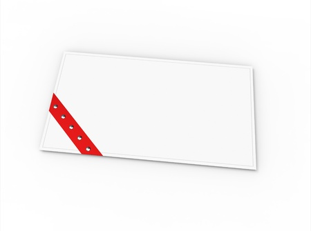 Blank greeting card (for greeting or congratulation) with red ribbon photo