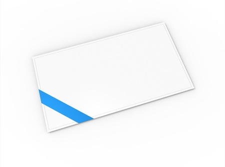 Blank greeting card (for greeting or congratulation) with blue ribbon photo