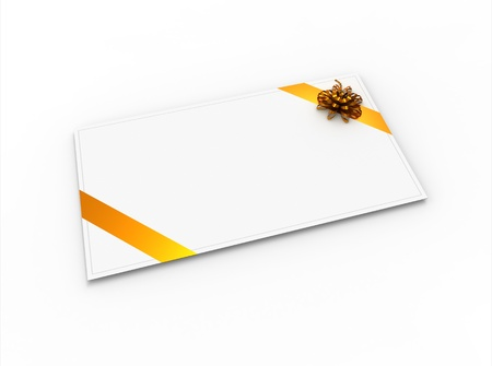 Blank greeting card (for greeting or congratulation) with yellow ribbon and bow photo