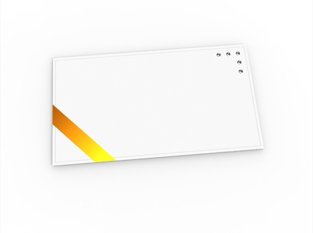 Blank greeting card (for greeting or congratulation) with yellow ribbon photo