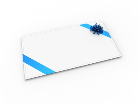 Blank greeting card (for greeting or congratulation) with blue ribbon and bow photo