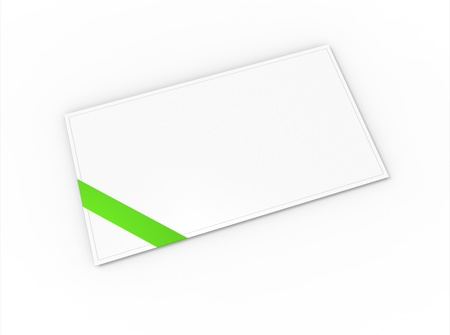 Blank greeting card (for greeting or congratulation) with green ribbon photo