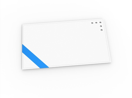 Blank greeting card  for greeting or congratulation  with blue ribbon photo