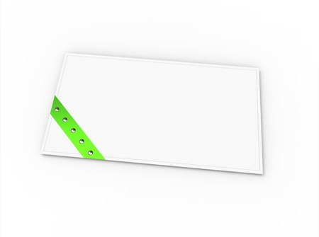 Blank greeting card  for greeting or congratulation  with green ribbon photo