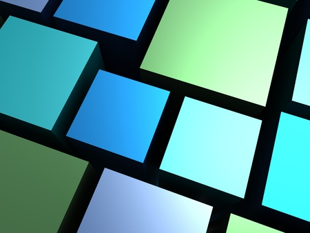 Abstract background - blue and green different cubes photo
