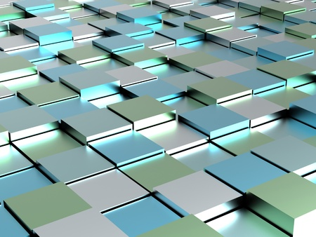 Abstract background - blue shiny different cubes photo