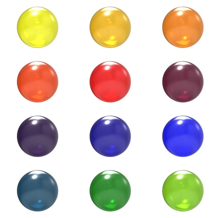 Glass different color balls group isolated on white background