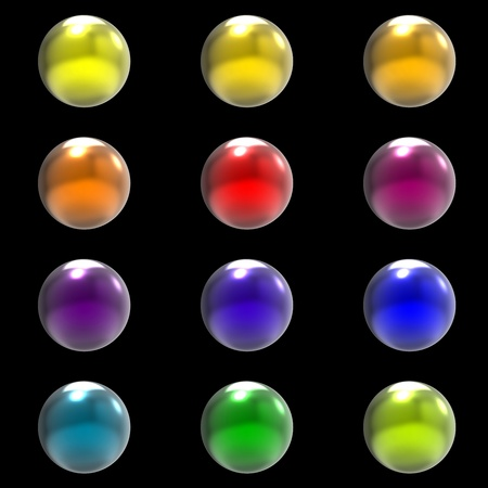 Chrome metal different color balls group isolated on black background photo