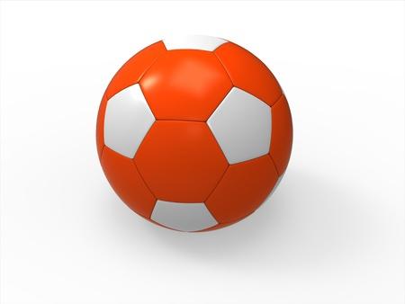 Orange soccer ball on isolated white background