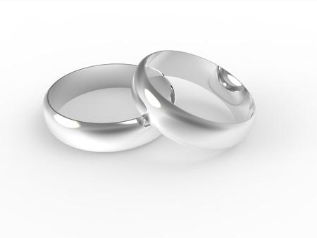 bodas de plata: Anillos de plata de la boda aisladas sobre fondo blanco