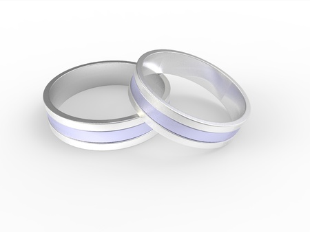 silver ring: Golden and silver wedding rings isolated on white background