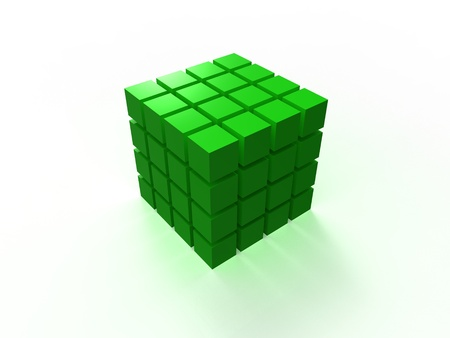4x4 green ordered cube assembling from blocks isolated on white background photo