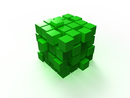 disordered: 4x4 green disordered cube assembling from blocks isolated on white background Stock Photo