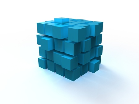 4x4 blue disordered cube assembling from blocks isolated on white background photo