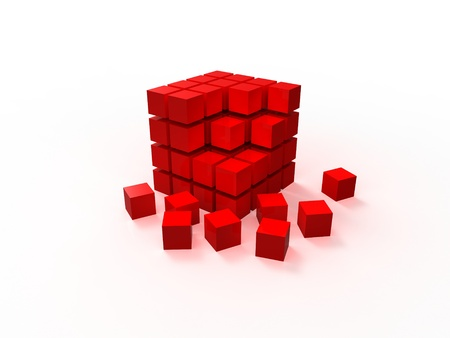 disordered: 4x4 red disordered cube assembling from blocks isolated on white background