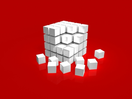 4x4 white disordered cube assembling from blocks on red background photo