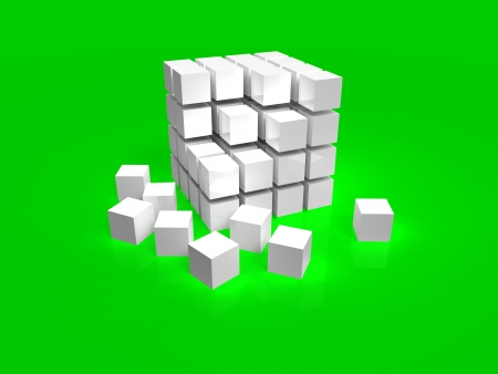 cube box: 4x4 white disordered cube assembling from blocks on green background
