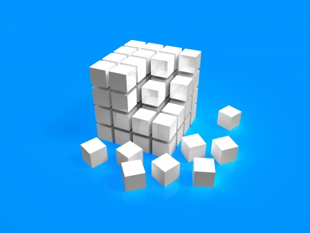 4x4 white disordered cube assembling from blocks on blue background