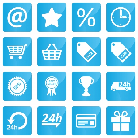 24h: Business, e-commerce, web and shopping icons set in modern style