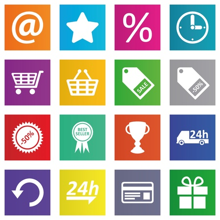 Business, e-commerce, web and shopping icons set in metro style Vector