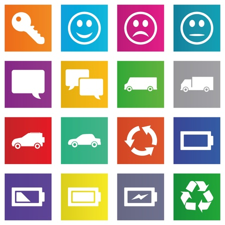 keylock: Business, e-commerce, web and shopping icons set in metro style Illustration