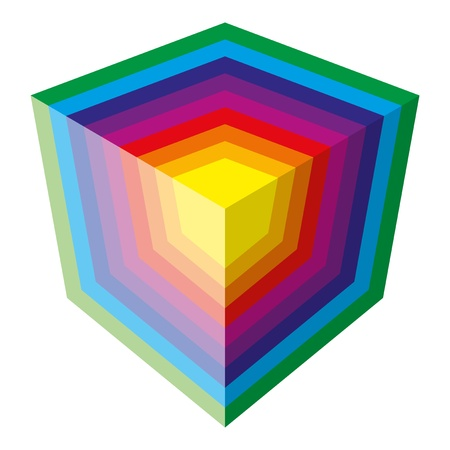 Colorful spectrum vector cube design, isolatedon white background Illustration