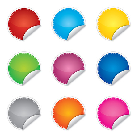 Price, promotion or bestseller vector blank stickers with different colors Vector