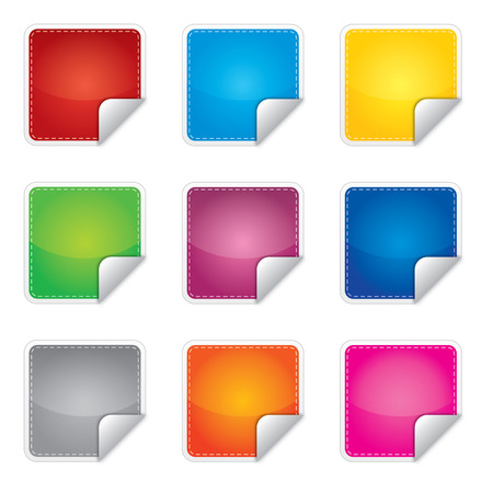 Price, promotion or bestseller vector blank stickers with different colors