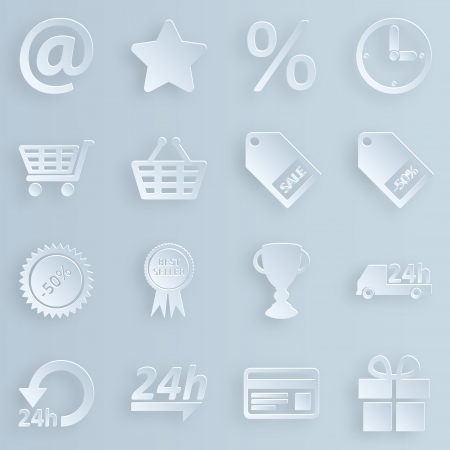 Business, technology, e-commerce, web and shopping icons set paper style Vector