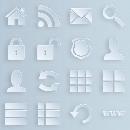 Business, technology, e-commerce, web and shopping icons set paper style Illustration
