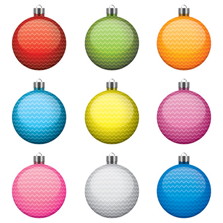 Christmas baubles, different colors and patterns, isolated on white background Illustration