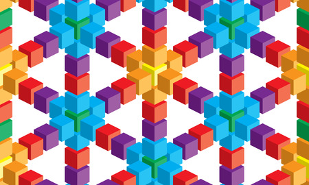 Optical illusion, colorful abstract vector cube and squares background