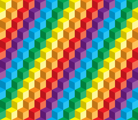 repeatable: Abstract colorful vector cube and squares repeatable background