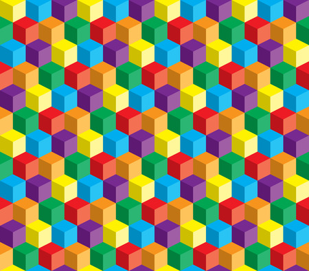 Abstract colorful vector cube and squares repeatable background