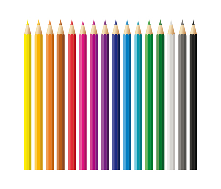 Colored pencils, crayons set, back to school Illustration