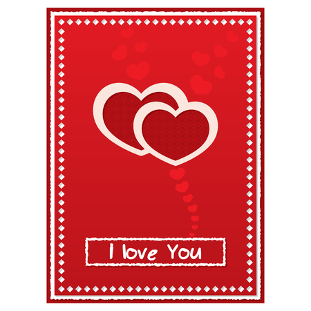 Valentines Day red card with two shapes of hearts