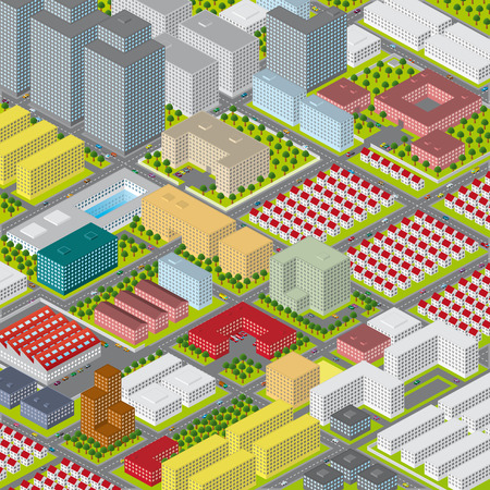 A colorful vector graphic illustration of a modern big city