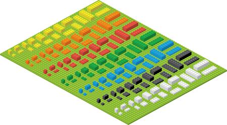 Children simple colorful toy brick bricks. Illustration