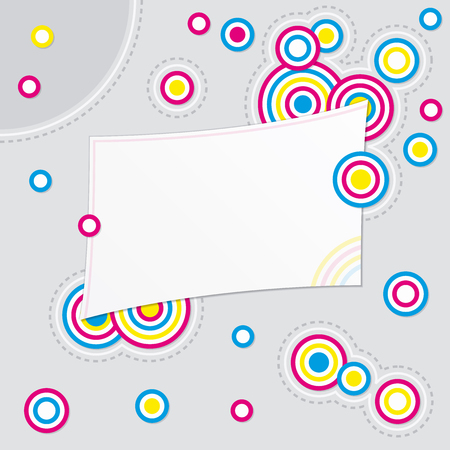 Abstract colorful background with small circles and blank card for message Illustration