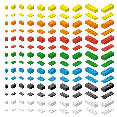 Children simple colorful brick toy bricks isolated on white background Illustration