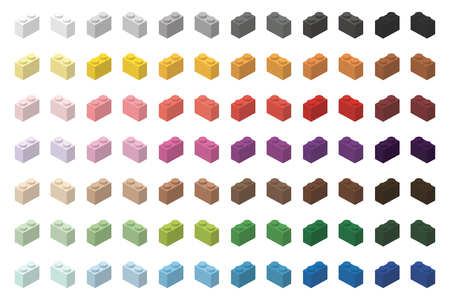 Children simple toy brick bricks color spectrum 2x1 high, isolated on white background