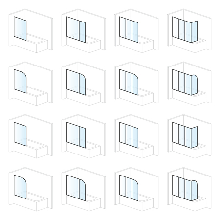 Bathtub screens, bathroom installation and montage solutions, pictogram types