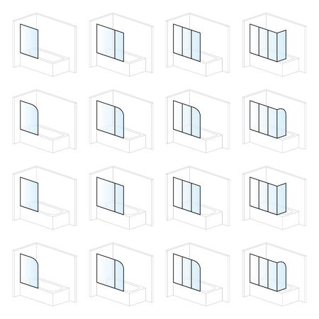 Ecrans de baignoire, solutions d'installation et de montage de salle de bain, types de pictogrammes Vecteurs