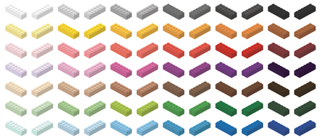 Childrens toy bricks simple colorful bricks 6x2 high, isolated on white background Illustration